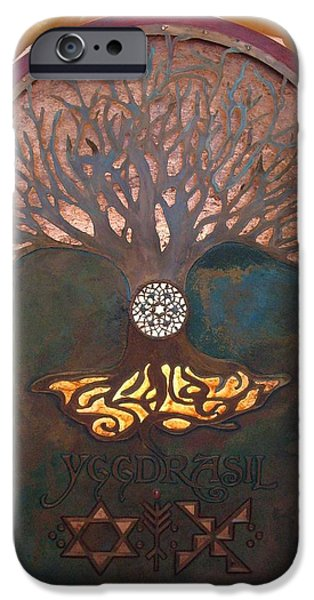 Pagan iPhone Cases - Runes for Restoration illuminated iPhone Case by Shahna Lax
