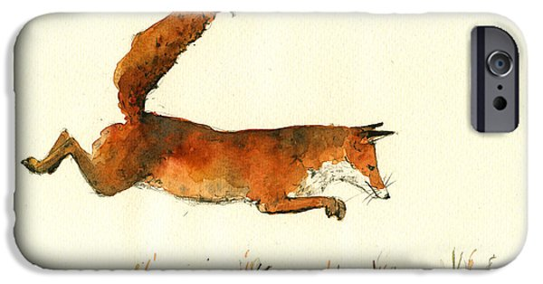 Fox Paintings iPhone Cases - Running fox iPhone Case by Juan  Bosco