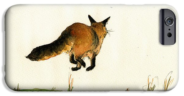 Fox Paintings iPhone Cases - Running fox painting iPhone Case by Juan  Bosco