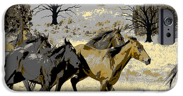Horse iPhone Cases - Running Horses iPhone Case by Sharon K Shubert