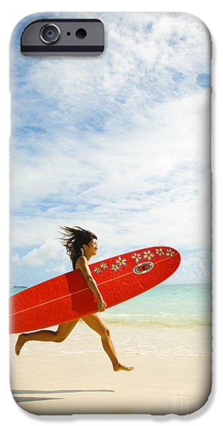 Youthful Photographs iPhone Cases - Running with Surfboard iPhone Case by Dana Edmunds - Printscapes