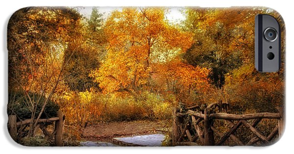 Red Leaf Digital iPhone Cases - Rural Autumn Entrance iPhone Case by Jessica Jenney