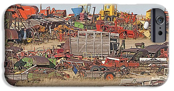 Work Tool Mixed Media iPhone Cases - Rural Junkyard iPhone Case by Steve Ohlsen