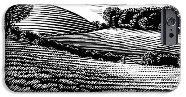 Linocut iPhone Cases - Rural Landscape, Woodcut iPhone Case by Gary Hincks