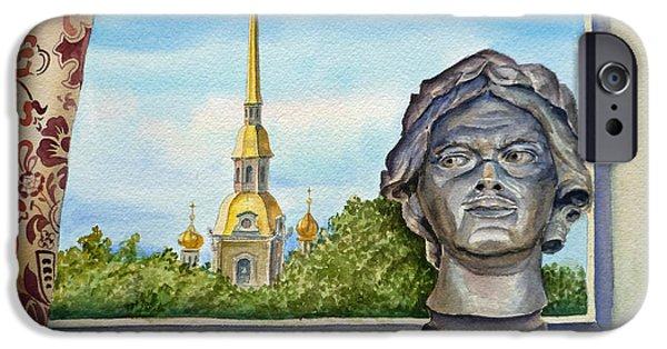 Russia Paintings iPhone Cases - Russia Saint Petersburg iPhone Case by Irina Sztukowski