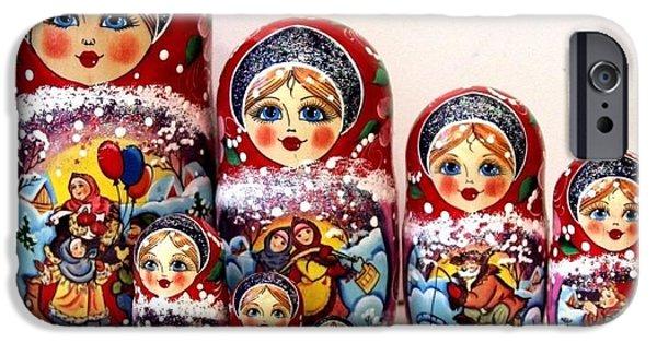 Christmas Sculptures iPhone Cases - Russian Christmas Joy iPhone Case by Viktoriya Sirris