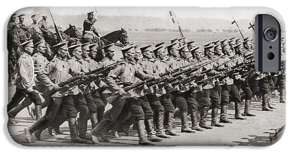Ww1 iPhone Cases - Russian Infantry Regiment Marching In iPhone Case by Ken Welsh