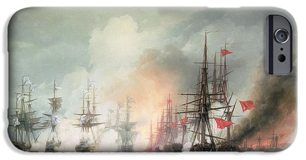 Sink iPhone Cases - Russian Turkish Sea Battle of Sinop iPhone Case by Ivan Konstantinovich Aivazovsky