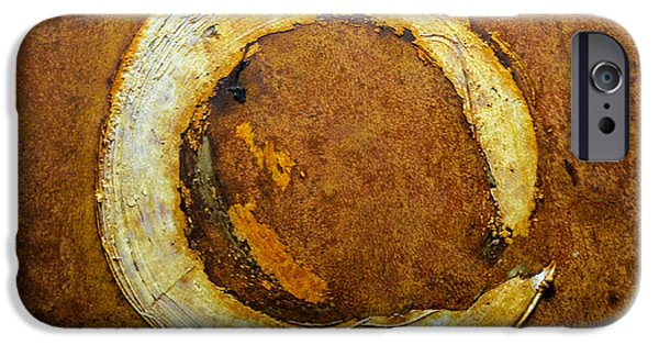 Modern Abstract Reliefs iPhone Cases - Rust Art #1 iPhone Case by Michael Kuelbel