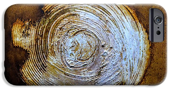 Modern Abstract Reliefs iPhone Cases - Rust Art #2 iPhone Case by Michael Kuelbel