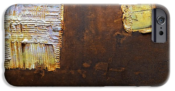 Modern Abstract Reliefs iPhone Cases - Rust Art #5 iPhone Case by Michael Kuelbel