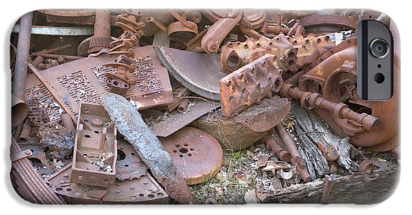 Rust iPhone Cases - Rusted Cast Iron Scrap Pile iPhone Case by Inga Spence