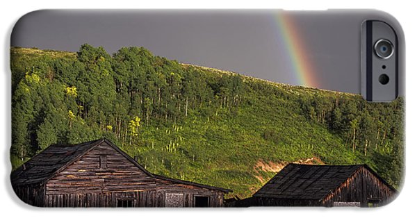 Dave iPhone Cases - Rustic Cabin Rainbow iPhone Case by Dave Dilli