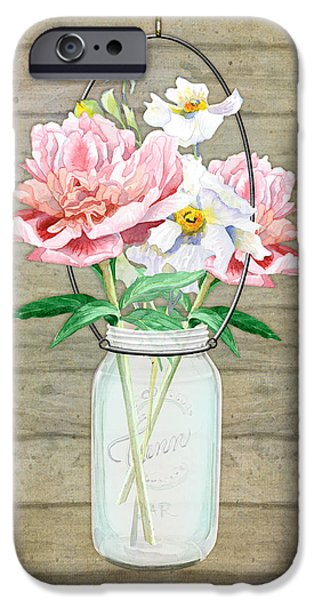 Barns Mixed Media iPhone Cases - Rustic Country Peony n Poppy Mason Jar Bouquet on Wooden Fence iPhone Case by Audrey Jeanne Roberts