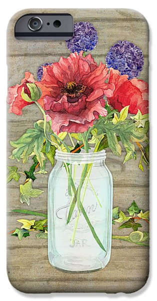 Board Mixed Media iPhone Cases - Rustic Country Red Poppy w Alium n Ivy in a Mason Jar Bouquet on Wooden Fence iPhone Case by Audrey Jeanne Roberts