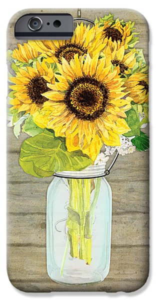 Sunflowers iPhone Cases - Rustic Country Sunflowers in Mason Jar iPhone Case by Audrey Jeanne Roberts