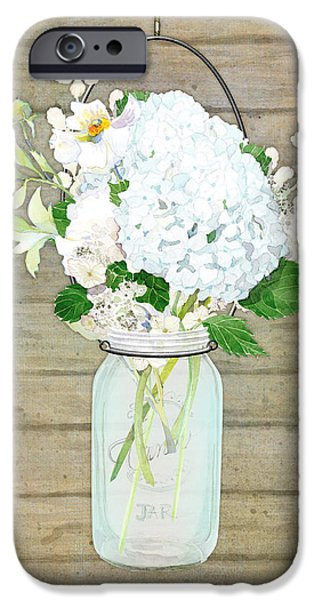 Board Mixed Media iPhone Cases - Rustic Country White Hydrangea n Matillija Poppy Mason Jar Bouquet on Wooden Fence iPhone Case by Audrey Jeanne Roberts