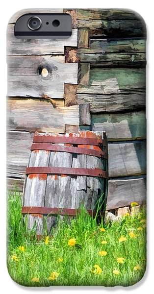 Wood Grain iPhone Cases - Rustic Rain Barrel at Old World Wisconsin iPhone Case by Christopher Arndt