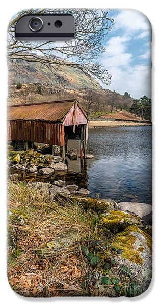 Dilapidated Digital Art iPhone Cases - Rusty Boathouse iPhone Case by Adrian Evans