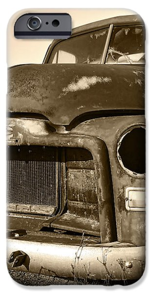 Rusty But Trusty Old GMC Pickup Truck - Sepia iPhone Case by Gordon Dean II
