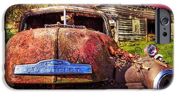 Autumn iPhone Cases - Rusty Chevy  iPhone Case by Debra and Dave Vanderlaan
