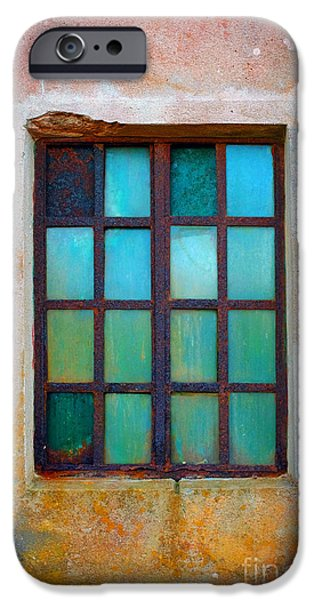 Grid Photographs iPhone Cases - Rusty Green Window iPhone Case by Carlos Caetano