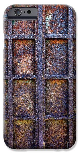 Grid Photographs iPhone Cases - Rusty Iron Window iPhone Case by Carlos Caetano