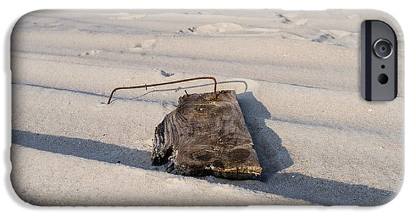 Board iPhone Cases - Rusty Metal in a Board on the Beach iPhone Case by David March