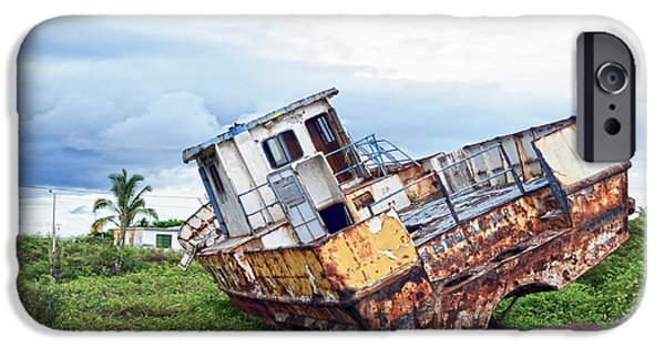 Boat iPhone Cases - Rusty Retired Fishing Boat iPhone Case by Catherine Sherman