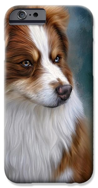 Canine Framed Prints Digital Art iPhone Cases - Ryley iPhone Case by Sandy Oman