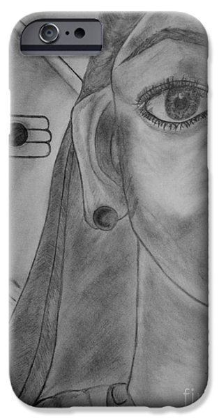 Religious Drawings iPhone Cases - Skandamata 5th Mother of Nav Durga iPhone Case by Navroz  Raje