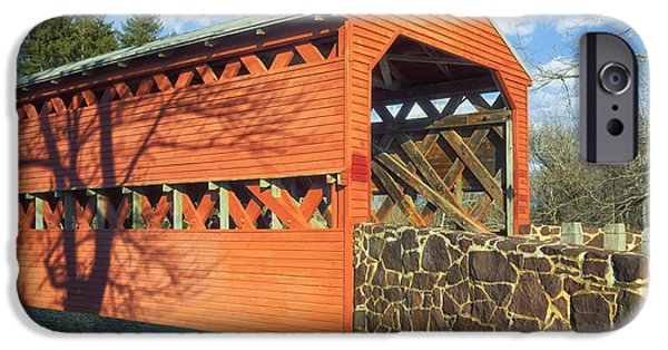 Covered Bridge iPhone Cases - Sachs Covered Bridge III iPhone Case by Marianne Campolongo