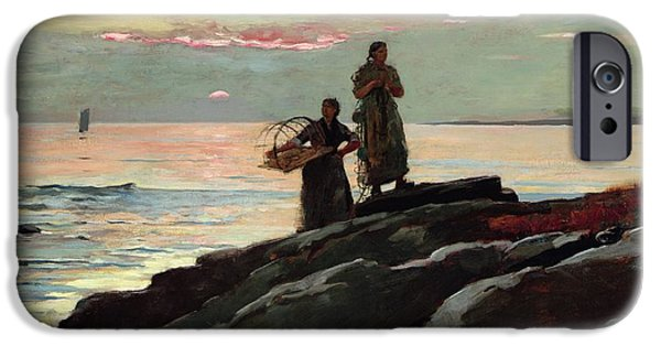 Sign iPhone Cases - Saco Bay iPhone Case by Winslow Homer