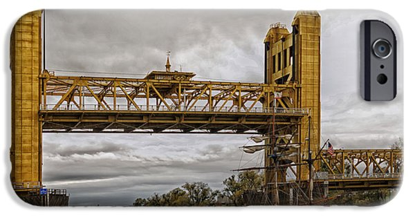 Tall Ship iPhone Cases - Sacramento Tower Bridge And Ship iPhone Case by Mountain Dreams
