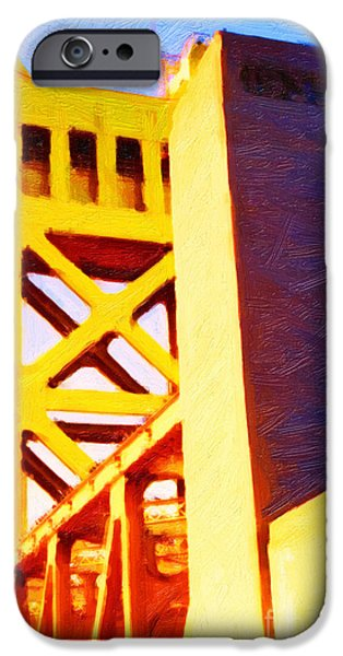 Abstract Landscape Digital Art iPhone Cases - Sacramento Tower Bridge In Abstract - 7D11564 iPhone Case by Wingsdomain Art and Photography