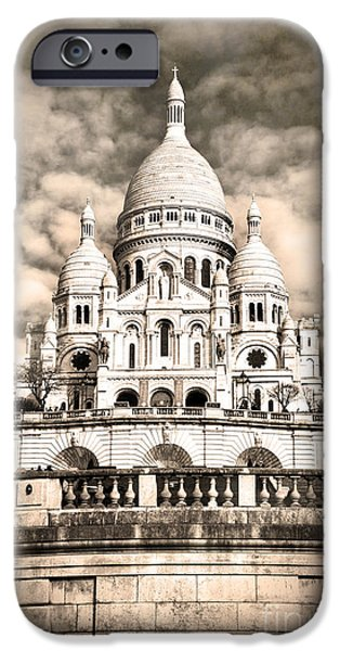 Facade iPhone Cases - Sacre Coeur sepia iPhone Case by Jane Rix