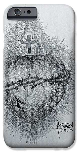 Jesus Drawings iPhone Cases - Sacred Heart iPhone Case by Fanny Diaz