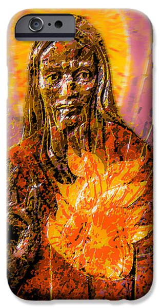 Jesus Reliefs iPhone Cases - Sacred Heart  iPhone Case by Richard Glen Smith
