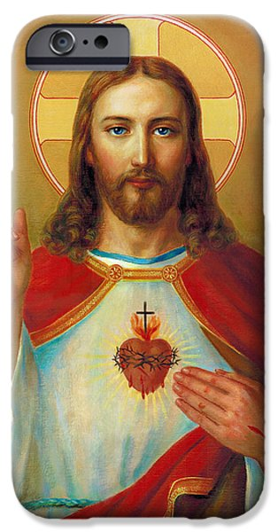Sacred iPhone Cases - Sacred Heart. Sacro Corde Jesu iPhone Case by Svitozar Nenyuk