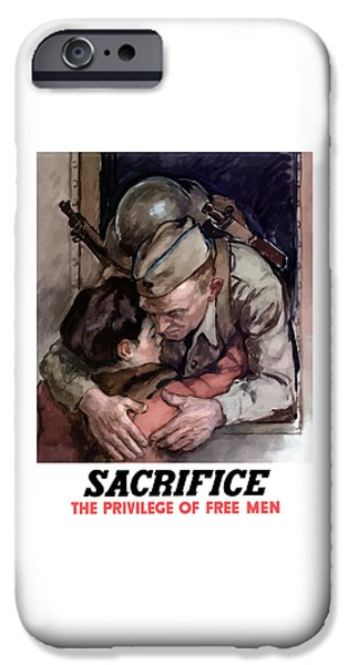 One Digital Art iPhone Cases - Sacrifice The Privilege Of Free Men iPhone Case by War Is Hell Store