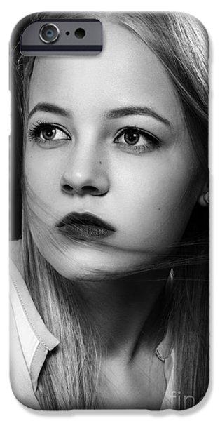 Thinking iPhone Cases - Sad Blond iPhone Case by Aleksey Tugolukov