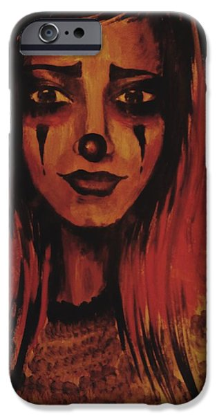 Lips iPhone Cases - Sad Clown iPhone Case by Radu Doriana