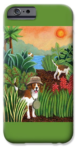 Dog In Landscape iPhone Cases - Safari Dogs iPhone Case by Louise Max