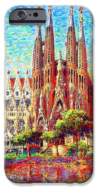 Window Paintings iPhone Cases - Sagrada Familia iPhone Case by Jane Small