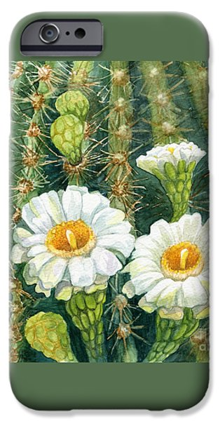Marilyn Smith Paintings iPhone Cases - Saguaro Cactus iPhone Case by Marilyn Smith