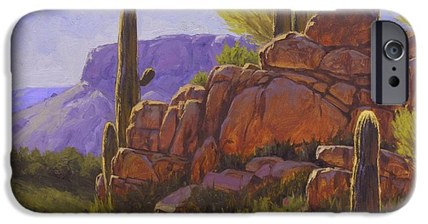 Cactus iPhone Cases - Saguaro Sunshine iPhone Case by Cody DeLong