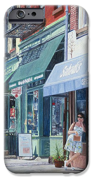 Store Fronts Paintings iPhone Cases - Sahadis Atlantic Avenue Brooklyn iPhone Case by Anthony Butera
