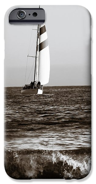 Sailboats iPhone Cases - Sail boat coming ashore 2 iPhone Case by Marilyn Hunt