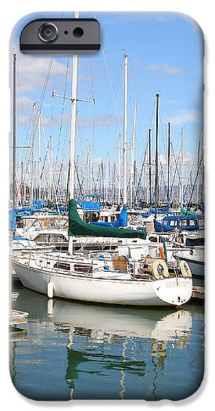 Sail Boats at San Francisco China Basin Pier 42 With The Bay Bridge in The Background . 7D7664 iPhone Case by Wingsdomain Art and Photography