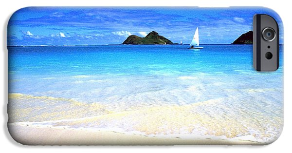 Sailboats iPhone Cases - Sailboat and Islands iPhone Case by Thomas R Fletcher